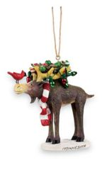 Resin Ornament - Moose & Birds Nest with Lights