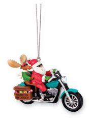 Resin Ornament - Santa & Moose Biker