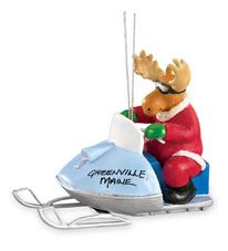 Resin Ornament - Moose on Snowmobile