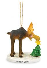 Resin Ornament - Moose Putting Star on Tree