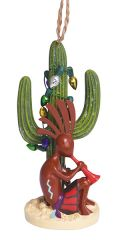 Resin Ornament - Kokopelli in Saguaro with Lights