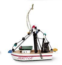 Wood Ornament - Shrimp Boat with Lights