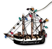 Wood Ornament - Pirate Ship with Lights