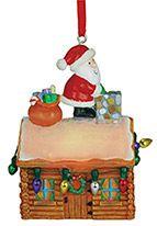 Light-up Resin Ornament - Santa on Log Cabin