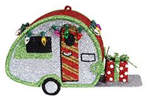 Glittered Metal Ornament - Teardrop Camper with Lights