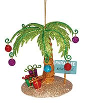 Glittered Metal Ornament - Palm