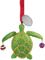 Glittered Metal Ornament - Turtle