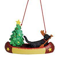 Resin Ornament - Dog in Canoe