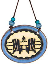 Pottery Disk Ornament - Adirondack Chairs