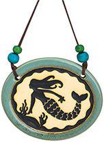 Pottery Disk Ornament - Mermaid