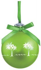 Light-up Frosted Glass Ball Ornament - Palm Tree