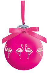 Light-up Frosted Glass Ball Ornament - Flamingo