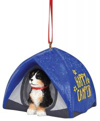 Resin Ornament -Tent with Dog