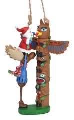 Resin Ornament - Totem Pole with Santa and Moose