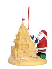 Resin Ornament - Santa Building a Sand Castle