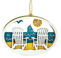 Laser Cut Wood Ornament - Beach Scene Adirondack Chairs
