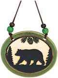Pottery Disk Ornament - Bear