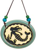 Pottery Disk Ornament - Mermaid