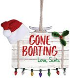 Sign Ornament - Gone Boating Love Santa with Lights