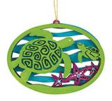 Laser Cut Wood Ornament - Sea Turtle with Baby