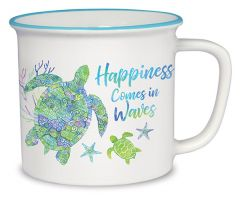 Cottage Mug - Turtle - Happiness Comes in Waves