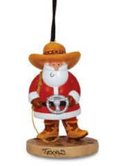 Resin Ornament - Santa with  Huge Belt Buckle & Cowboy Hat