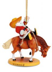 Resin Ornament - Santa Riding Rodeo Horse