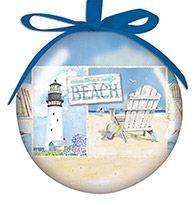 Ball Ornament - Coastal Collage