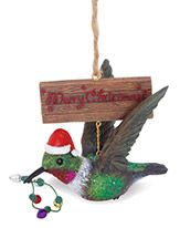 Resin Ornament - Hummingbird with Santa Hat