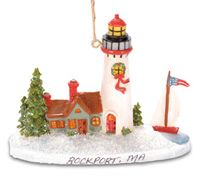 Resin Ornament - Lighthouse with  Sailboat