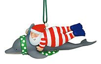 Resin Ornament - Santa Swimming with Dolphin