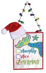 Sign Ornament - Christmas Mermaid - Naughty, Nice