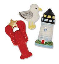 Ceramic Magnet Small Magnet set- Naut (Sea Gull, Lobster, Lighthouse)
