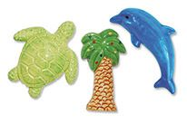 Ceramic Magnet Small Magnet set- Beach (Dolp, Palm Tree, Turtle)