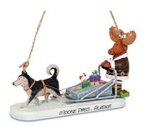 Resin Ornament - Moose Driving Dog Sled
