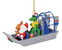 Resin Ornament - Gator Driving Air Boat