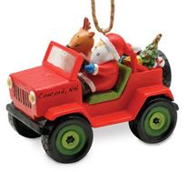 Resin Ornament - Santa in Jeep