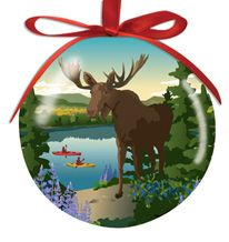 Ball Ornament - Moose Reflection
