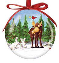 Ball Ornament - Moose & Bunnies