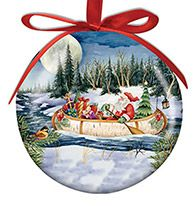 Ball Ornament - Birchbark Canoe