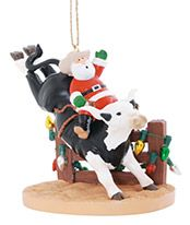 Resin Ornament - Santa on Rodeo Bull