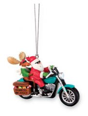Resin Ornament - Santa & Moose Biker