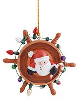 Resin Ornament - Santa in Ships Wheel with Lights