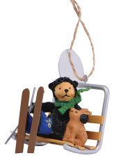 Resin Ornament - Bernie on a Ski Lift