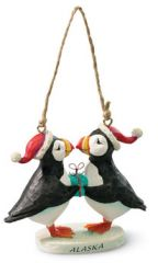 Resin Ornament - Puffins with Present