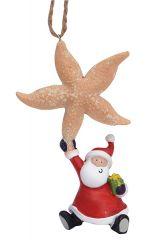 Resin Ornament - Santa with Starfish