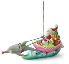 Resin Ornament - Santa in Sleigh Shell