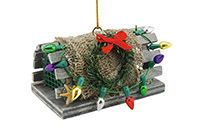 Wood Ornament - Lobster Trap with Lights
