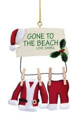 Metal Ornament - Gone to Beach Santa