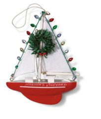 Handcrafted Ornament - Red Sailboat with Lights